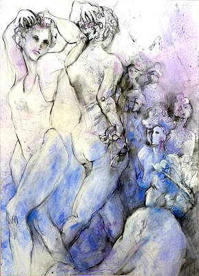 Dancing Damsels Poster by Joan  Jones