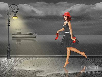Dancing In The Rain Poster by Monika Juengling