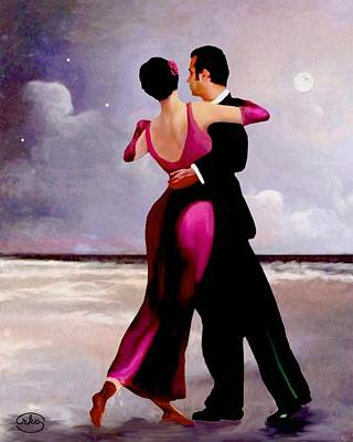 Dancing On The Beach Poster by Ron Chambers
