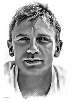 Daniel Craig Sketch Poster by Scott Wallace