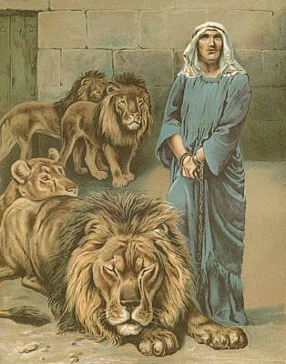 Daniel In The Lions Den Poster by John Lawson