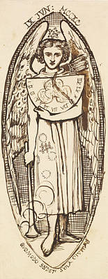 Dantis Amor -  Study Of Love With A Sundial And Torch  Poster by Dante Gabriel Rossetti