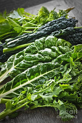 Dark Green Leafy Vegetables Poster by Elena Elisseeva