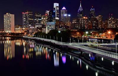 Dark Night In Philadelphia  Poster by Frozen in Time Fine Art Photography