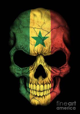 Dark Senegal Flag Skull Poster by Jeff Bartels