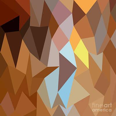 Dark Tangerine Abstract Low Polygon Background Poster by Aloysius Patrimonio