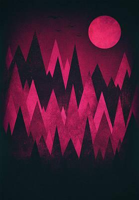 Dark Triangles - Peak Woods Abstract Grunge Mountains Design In Red Black Poster by Philipp Rietz