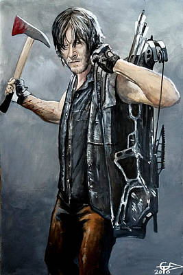 Daryl With Axe Poster by Tom Carlton