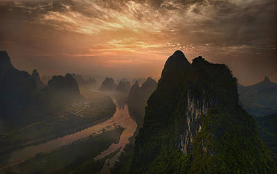 Dawn At Li River Poster by Mieke Suharini