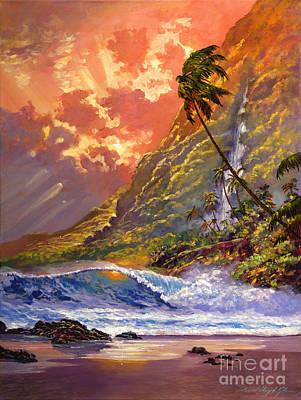 Dawn In Oahu Poster by David Lloyd Glover