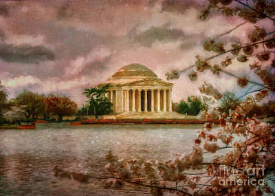 Dawn Over The Jefferson Memorial Poster by Lois Bryan