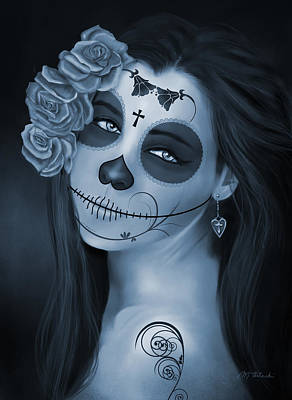 Day Of The Dead Bride Monochromatic Poster by Maggie Terlecki