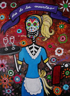 Day Of The Dead Waitress Poster by Pristine Cartera Turkus