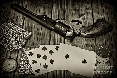 Dead Mans Hand Black And White Poster by Paul Ward