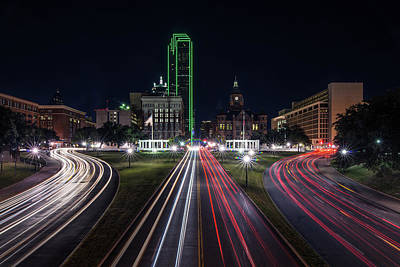 Dealey Plaza Dallas At Night Poster by Todd Aaron