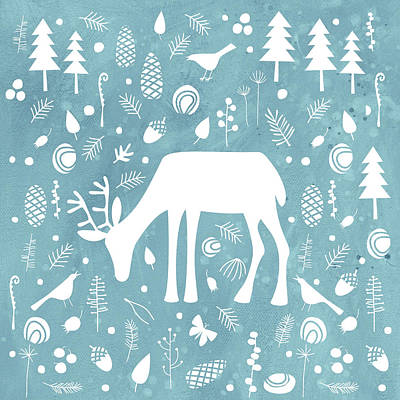 Deer In The Woods Poster by Nic Squirrell