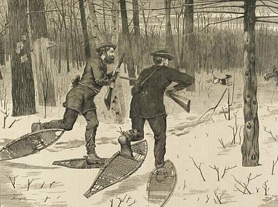 Deer-stalking In The Adirondacks In Winter Poster by Winslow Homer