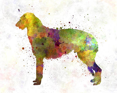 Deerhound 01 In Watercolor Poster by Pablo Romero