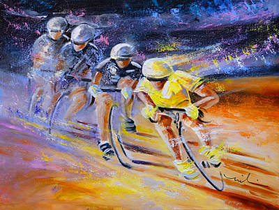 Defying Time In A Yellow Jersey Poster by Miki De Goodaboom