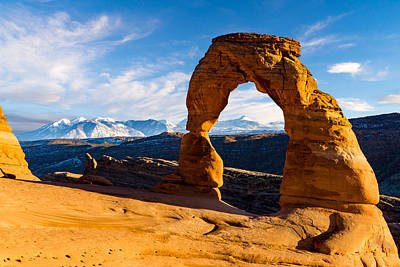 Delicate Arch And The La Sal Mountains Poster by TL Mair