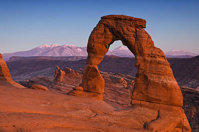 Delicate Arch At Dusk Poster by Andrew Soundarajan