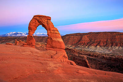Delicate Arch Sunset Poster by Johnny Adolphson