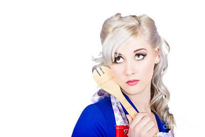 Delicious Young Blonde Pinup Model With Cooking Spoon Poster by Jorgo Photography - Wall Art Gallery