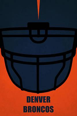 Denver Broncos Helmet Art Poster by Joe Hamilton
