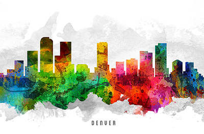 Denver Colorado Cityscape 12 Poster by Aged Pixel