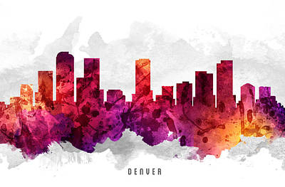 Denver Colorado Cityscape 14 Poster by Aged Pixel