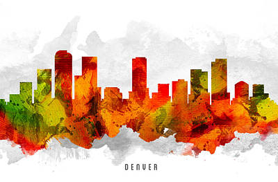 Denver Colorado Cityscape 15 Poster by Aged Pixel