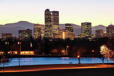 Denver Colorado Mountain Skyline Poster by Gregory Ballos