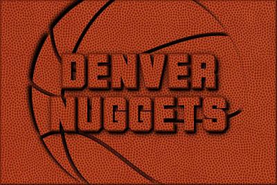 Denver Nuggets Leather Art Poster by Joe Hamilton