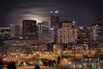 Denver Skyline At Night Poster by Juli Scalzi