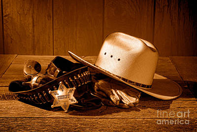 Deputy Sheriff Gear - Sepia Poster by Olivier Le Queinec