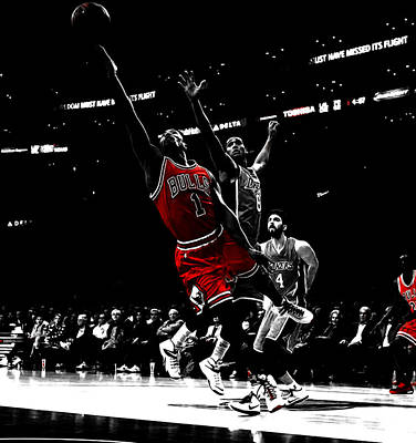 Derrick Rose Finger Roll Poster by Brian Reaves