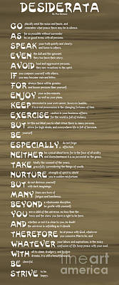 Desiderata 17 Poster by Wendy Wilton