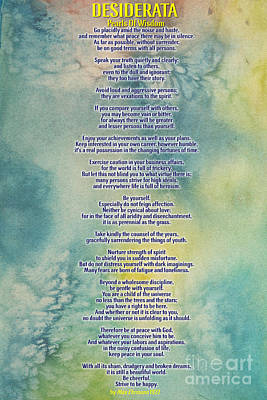 Desiderata Pearls Of Wisdom Poster by Celestial Images