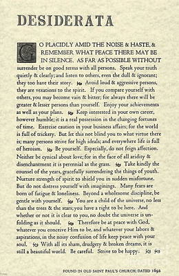 Desiderata Poem On Parchment Poster by Desiderata Gallery