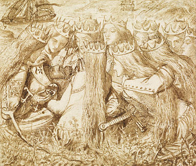 Design For Moxon's Tennyson - King Arthur And The Weeping Queens Poster by Dante Gabriel Rossetti