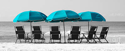 Destin Florida Six Beach Chairs And Three Umbrellas Panoramic Color Splash Black And White Poster by Shawn O'Brien