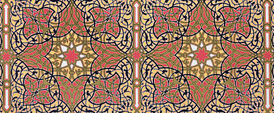 Detail Of Ceiling Arabesques From The Mosque Of El-bordeyny Poster by Emile Prisse d'Avennes