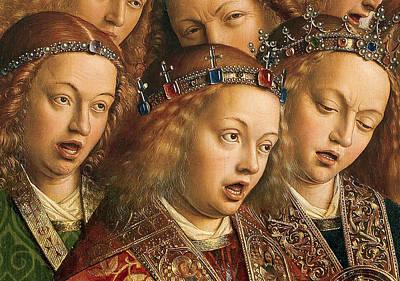 Detail Of Singing Angels Poster by Van Eyck