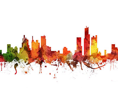 Detroit Cityscape 04 Poster by Aged Pixel