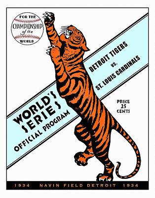 Detroit Tigers 1934 World Series Program Poster by Big 88 Artworks