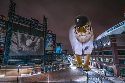 Detroit Tigers At  Comerica Park Poster by Nicholas  Grunas