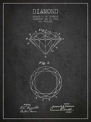Diamond Patent From 1906 - Charcoal Poster by Aged Pixel