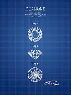 Diamond Patent From 1945 - Blueprint Poster by Aged Pixel
