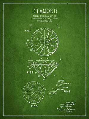 Diamond Patent From 1966- Green Poster by Aged Pixel