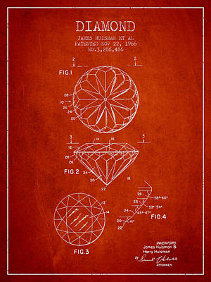 Diamond Patent From 1966- Red Poster by Aged Pixel